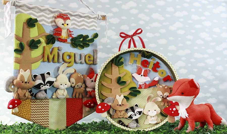 Feltro em decoração para bebês Floresta encantada  eduK